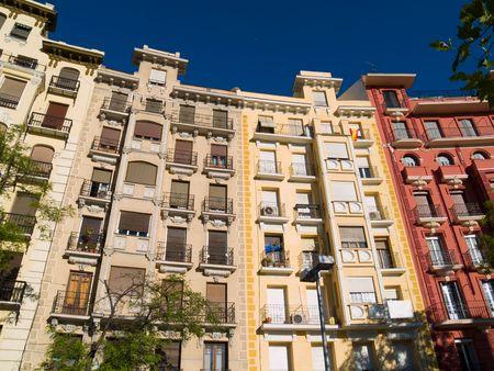 Apartment buildings in Madrid, Spain.