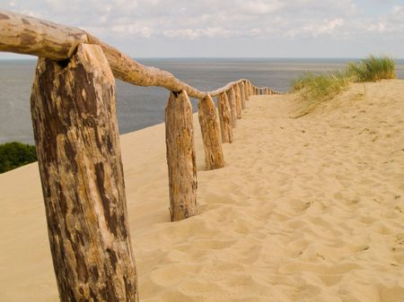 Sandy Dunes on the Curonian Spit in Nida, Neringa, Lithuania. Shallow DOF. Stock Photo
