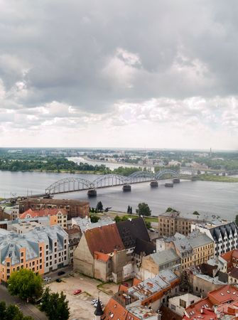 An aerial view of Riga, Latvia