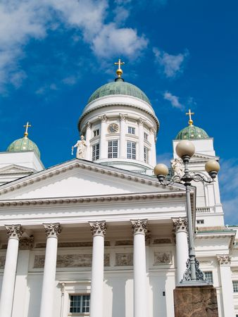 Tuomiokirkko, the white Lutheran Cathedral in Helsinki, Finland. Stock Photo - 5369628