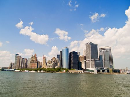A view of lower Manhattan, New York from the Hudson River Stock Photo