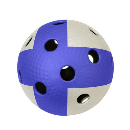 A floorball ball with flag of Finland. Stock Photo