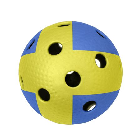 A floorball ball with flag of Sweden. Stock Photo