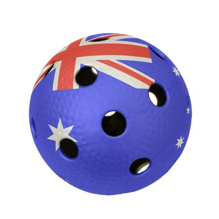 Floorball ball with the flag of Australia, a team participating in the world championship of 2010.