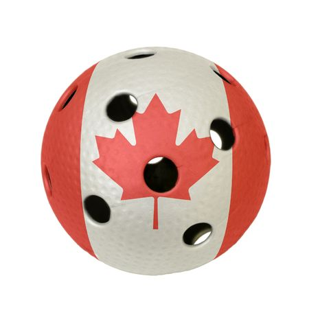 Floorball ball with the flag of Canada, a team participating in the world championship of 2010. Stock Photo