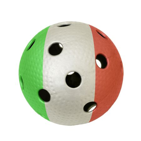 Floorball ball with the flag of Italy, a team participating in the world championship of 2010.