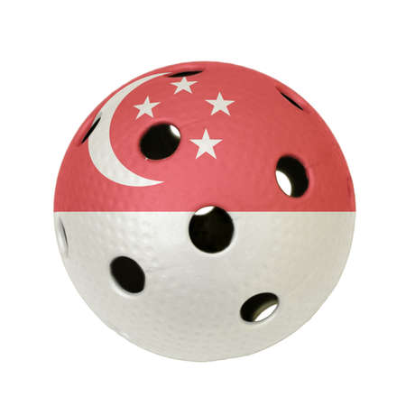 Floorball ball with the flag of Singapore, a team participating in the world championship of 2010.