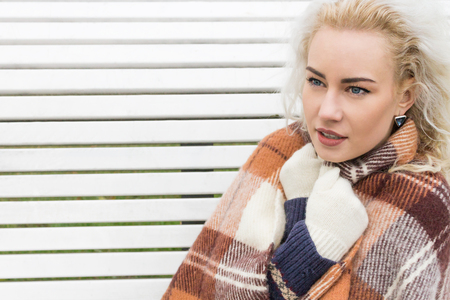 excitation: Young Girl in Plaid Warms