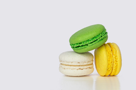 Colored Sweet Dessert on a White Background. Copy Space