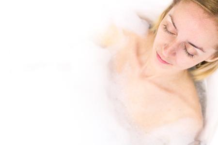 Woman Enjoying in the Bathroom. Copy Space Stock Photo