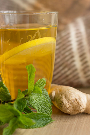 Autumn Still Life with Tea Mint Lemon and Ginger.