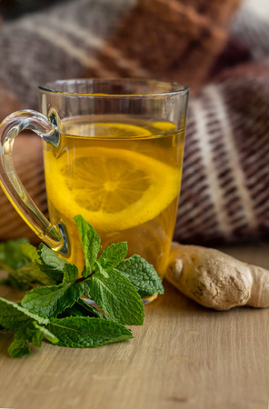 Tea with Lemon, Mint and Ginger. Healthy Concept