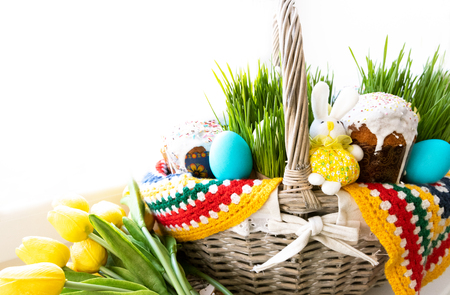 Easter Basket with Abundance of Food. Isolated on white background. Copy Space. Background