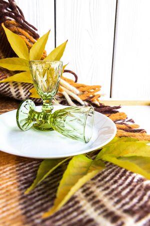 Autumn Still Life with Short Glasses. Czech Glass