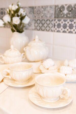 Still Life of Tea Set. Background. Tea party China. Tableware Imagens