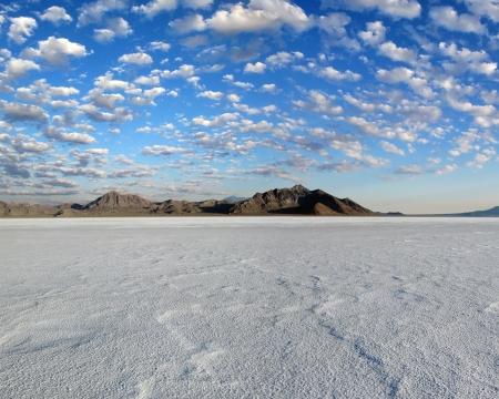 vast:      Bonneville Salt Flats Under Glowing Clouds                           Stock Photo