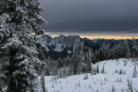 cascade mountains: Landscape style photo showing snow,snow covered trees,and a very dark gray sky