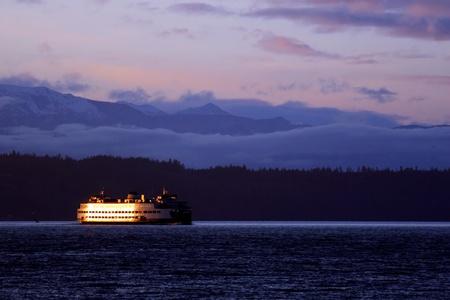 edmonds: Late evening photo of the kingston,edmonds ferry taken as the sun goes down at the Edmonds ferry dock.