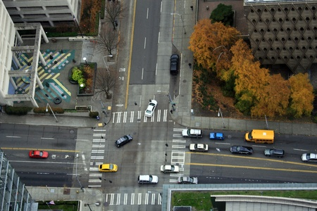 Downtown Seattle street intersection taken from above.
