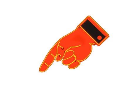 cuff: Neon sign hand with pointing finger. Yellow neon lighting orange colored hand with black cuff.