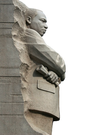 luther: Isolated right side view of Martin Luther King Memorial in Washington DC.