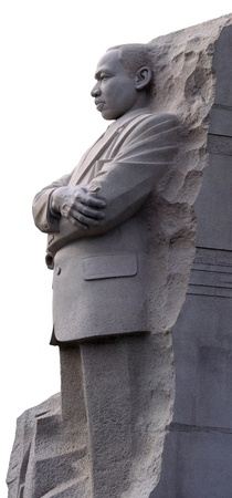 Isolated left side view of Martin Luther King Memorial in Washington DC.