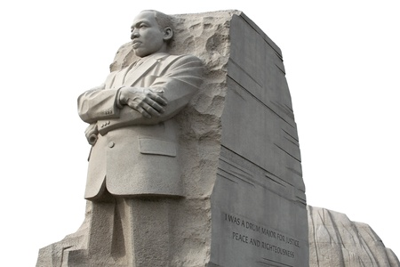 Isolated frontal, left viewing of the Martin Luther King Memorial.