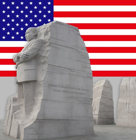 Left side view of King Memorial showing the split mountain in the background.