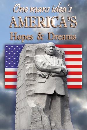 Meestal voor-en gedeeltelijk recht zijaanzicht van King Memorial gedaan poster stijl Amerikaanse vlag op foto midden Een mans idee s amerika hoop en dromen boven Redactioneel