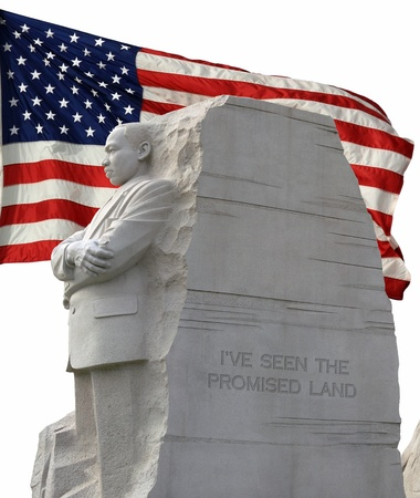 Left side view of King Memorial,isolated along with a isolated american flag fluttering in the background