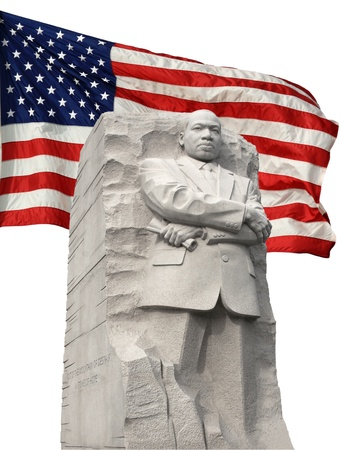 Isolated frontal view of ML King Memorial angled slightly to the right Background consists of an isolated  american flag fluttering in the breeze