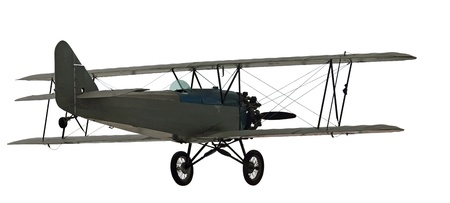 Vintage bi-plane with blue faring around cockpit area with the rest of the plane done in grey colored metal. Isolated background. Stock Photo