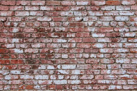 Vintage brick wall with weathered and worn white wash texture