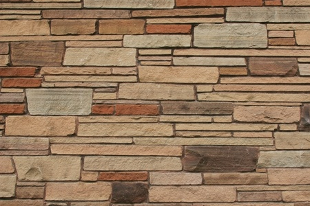 stone work: Random Horizontal Stone Wall in different shades of brown  Great background, texture or wallpaper