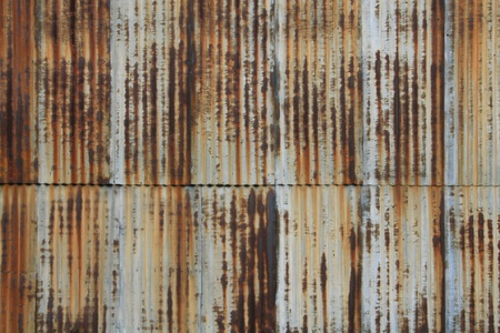 rust': Vintage vertical corrugated metal wall  Rusty and well worn with nice patina
