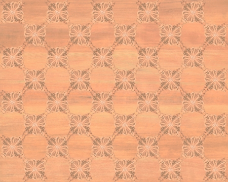 inlay: Wood tile, redwood coloring with darker butterfly checkerboard pattern inlay  Faux Wood Marquetry Great textured design for flooring, wallpaper  Nice classic look  Stock Photo