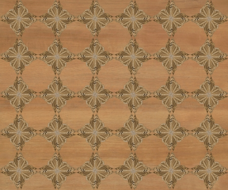 inlay: Wood tile with darker diamond butterfly pattern inlay  Lighter engilish walnut color  Stock Photo