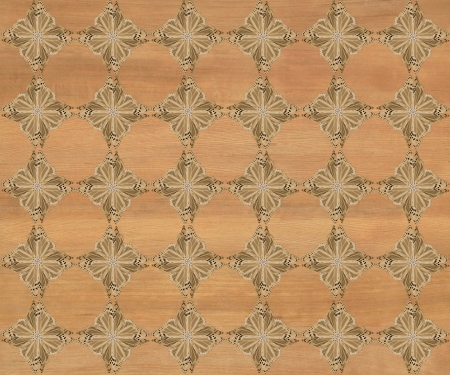 inlay: Wood tile with darker diamond butterfly pattern inlay  Hickory coloring