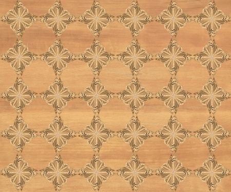 inlay: Wood tile, nice medium brown with darker diamond butterfly pattern inlay  Faux Wood Marquetry Great textured design for flooring, wallpaper  Nice classic look