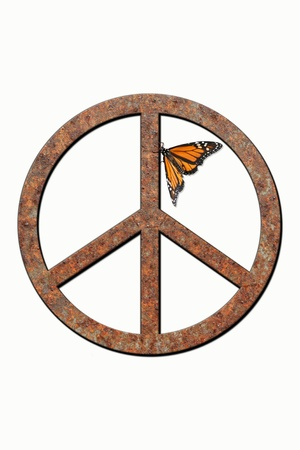 Isolated rusted metal peace symbol with monarch butterfly attached. Stock fotó