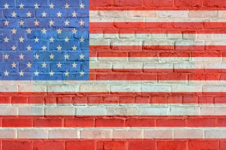 president of the usa: Painted on bricks american flag illustration, with an old retro look. Stock Photo