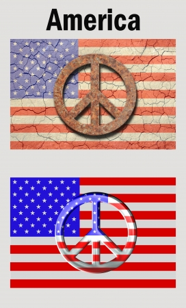 peace flag: Poster style, Cracked, and aged american flag with a rusty peace symbol top. New look flag with a metallic look peace symbol bottom. And the word America on top. Add your own text.
