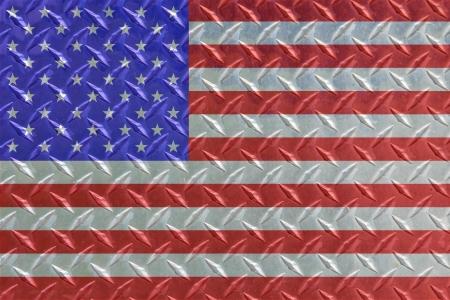 American Flag on Diamond Steel with great metallic look. Stock Photo