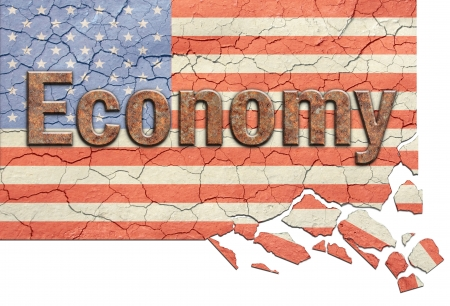 atop: Cracked, aged and crumbling american flag with Economy in rusty letters atop.  Stock Photo