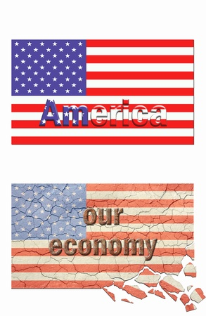 Poster style, nice new looking american flag,top. Cracked, aged and crumbling american flag bottom. Fill in your own text style. photo