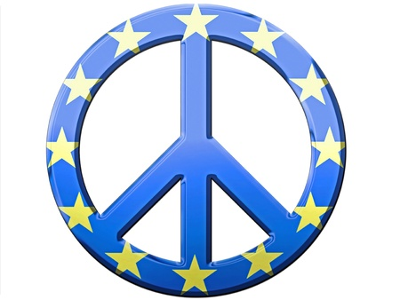peace flag: Chrome or metallic look peace symbol with European Union flag look.