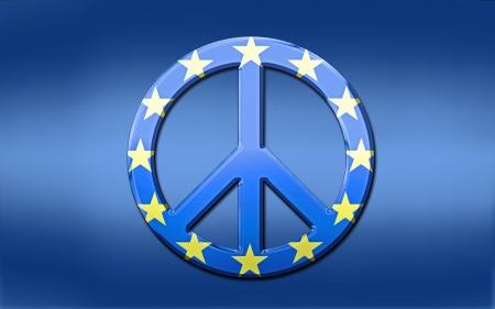 Blue shaded European Union flag with over layed, metallic euro peace symbol.