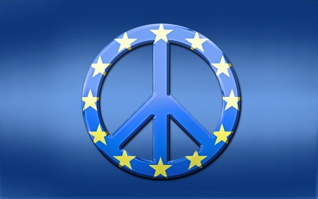 peace flag: Blue shaded European Union flag with over layed, metallic euro peace symbol.