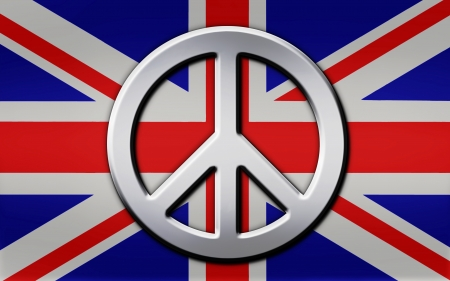 Chrome peace symbol layered atop a metallic look Union Jack british flag