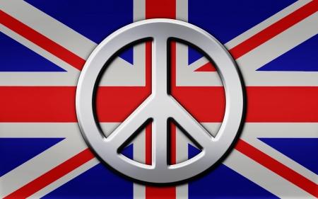 bandiera inglese: Chrome simbolo della pace a strati in cima a una bandiera metallica sguardo Union Jack britannica Archivio Fotografico